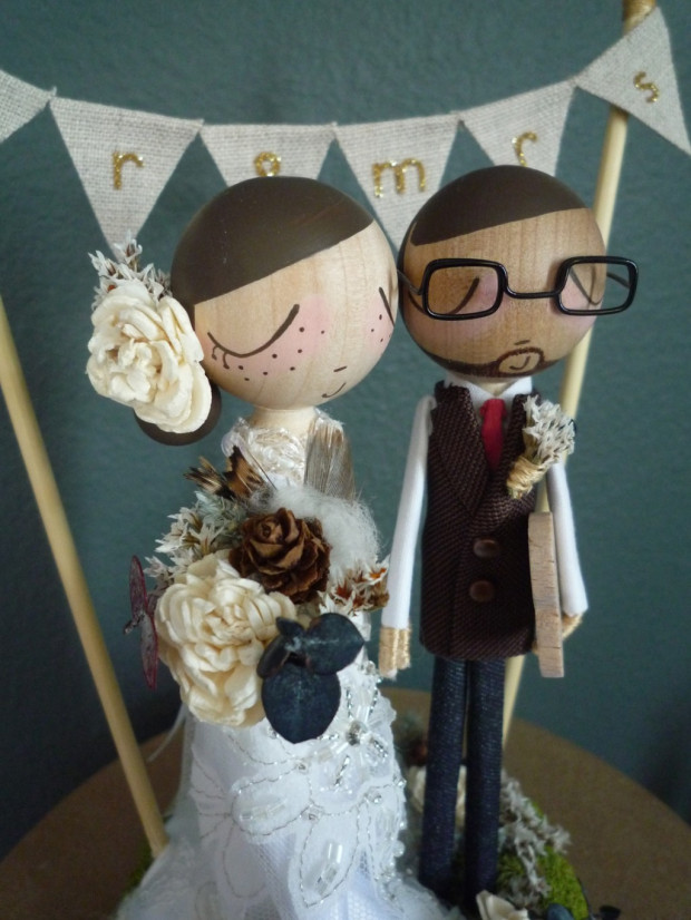 Wedding Cake Topper with Bunting