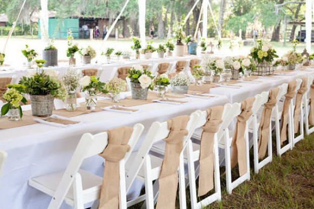 Burlap Wedding Chair Sashes Decor