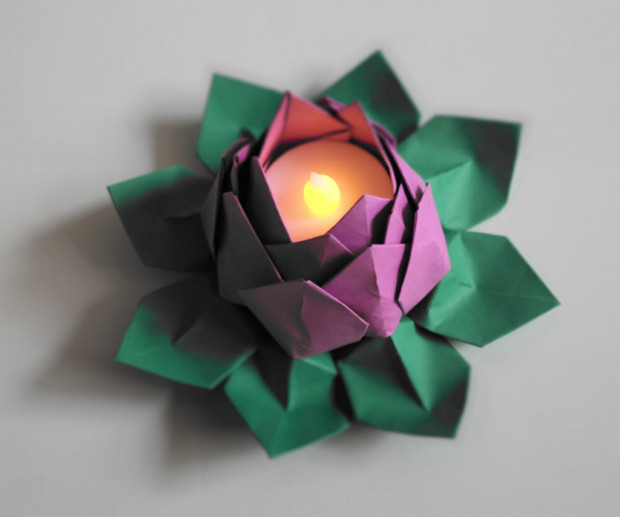 Origami water lilies lotus flowers electric led tealight kohabit led tealight water lily lotus origami flower mightylinksfo