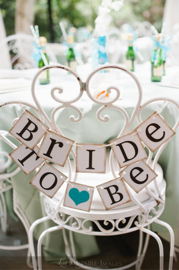 bride to be mini banner bridal shower chair sign