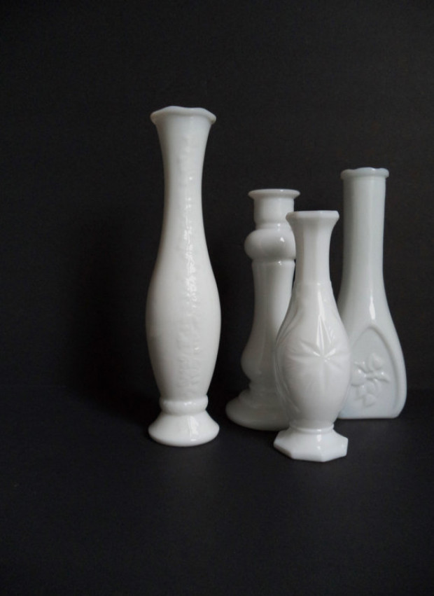 Vintage Milk Glass Vases Wedding Kohabit