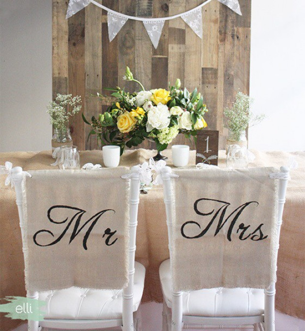 Rustic Linen & Lace Mr and Mrs Wedding Chair Cover Signs | Kohabit