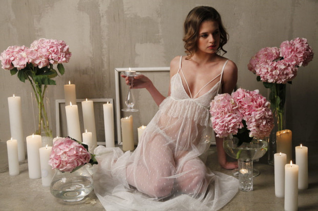 0e217dcdead Long Tulle Bridal Nightgown With Lace
