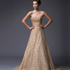 Peach Beaded A-Line Wedding Gown