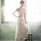 Beaded bodice with scalloped embroidey trumpet gow