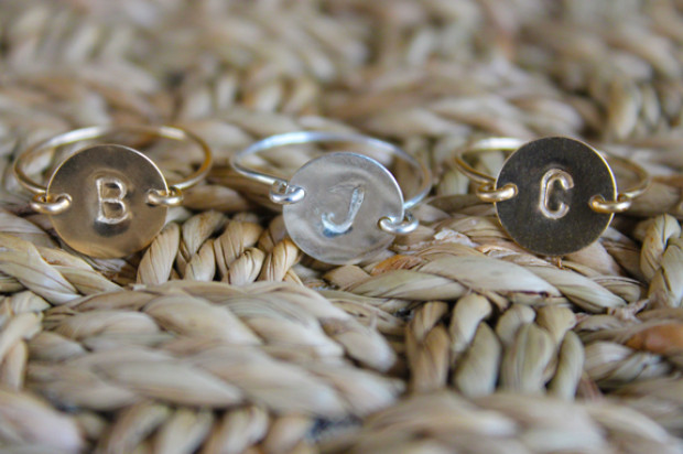 Personalized Bridesmaid Hand Stamped Initial Rings