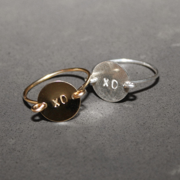Perfect Bridesmaids Gift – Hand Stamped 'xo' Ring