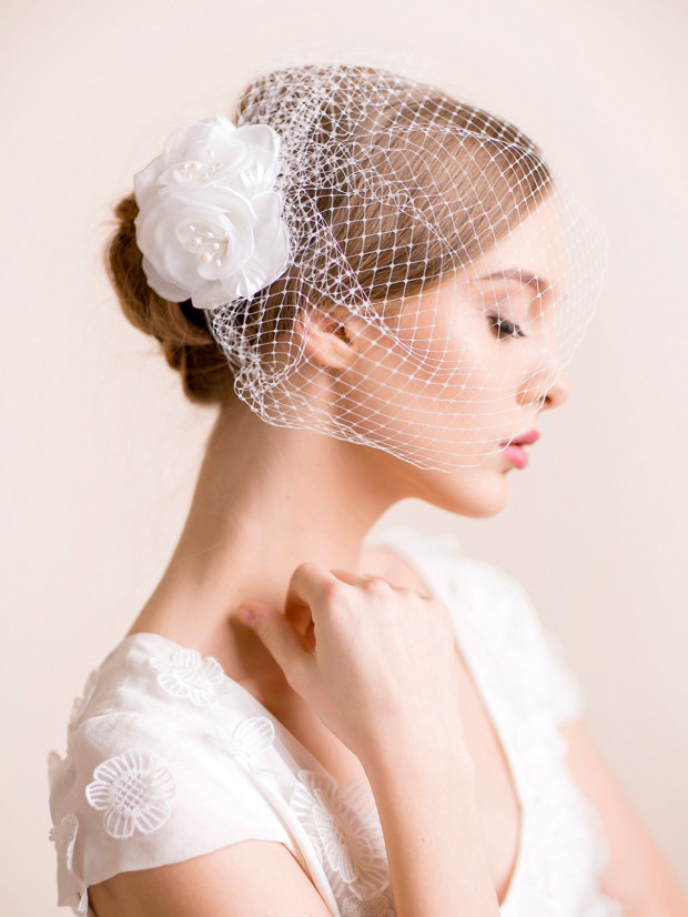 Bridal Birdcage Veil with Flower