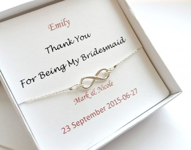 Personalized Bridesmaids Bracelet, Sterling silver